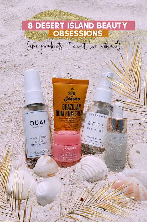 Beauty products on the beach