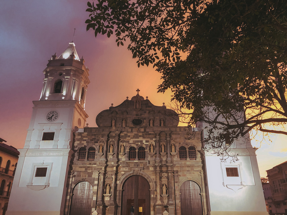 Beautiful cathedral in old Panama City