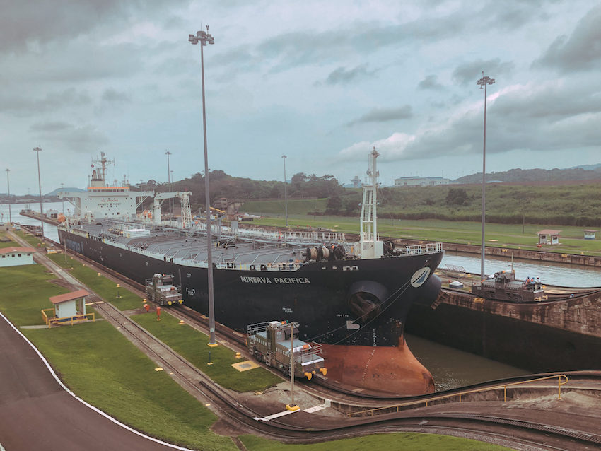 Panama Canal with Minerva Pacifica boat coming through