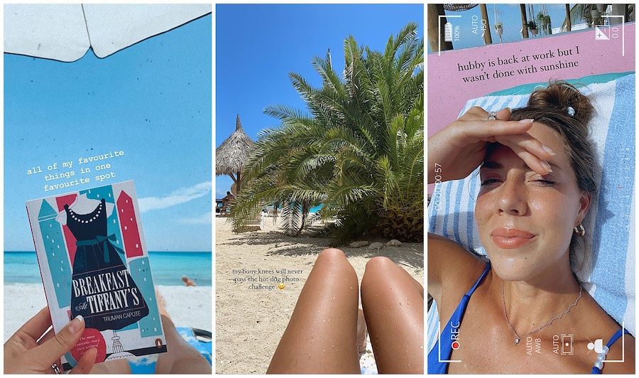 Woman having a beach day